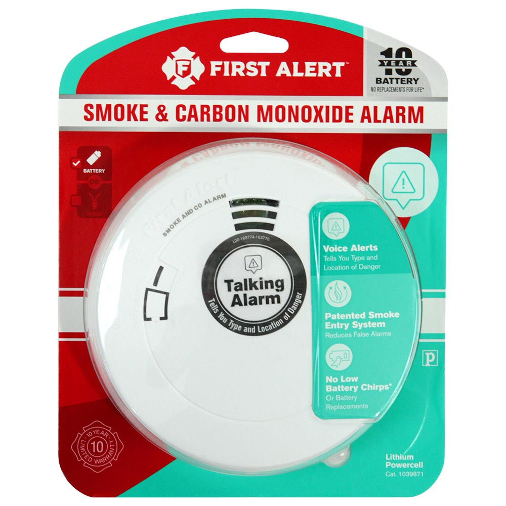 First Alert Compact 10 Year Combo Photoelectric Smoke & Carbon Monoxide Alarm with Voice & Location Feature - PRC710V (1039871)