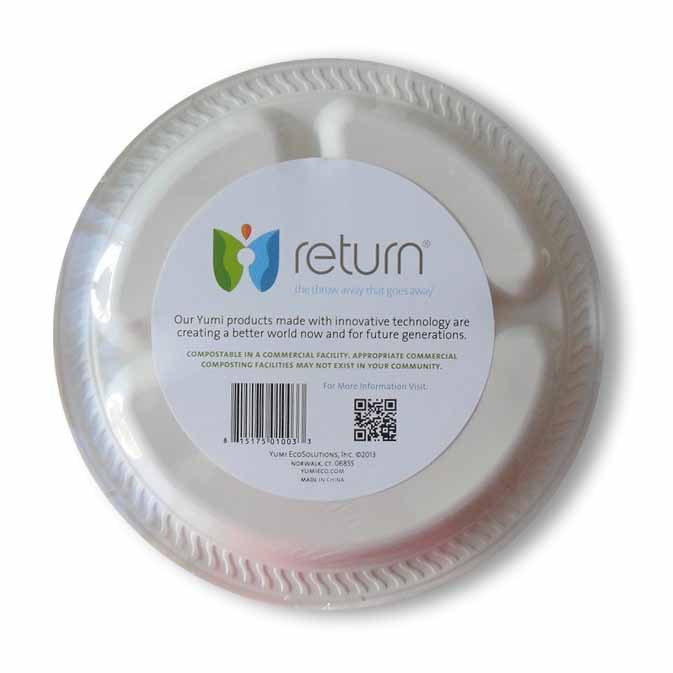 Yumi Return 10-3/8 Inch Compostable Compartment Plates, 100% Natural Starch, 12 Pieces