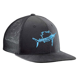 Flying Fisherman H1725-L/XL Sailfish Fitted Trucker Hat Black L/XL