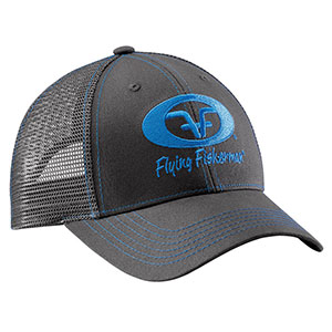 Flying Fisherman H1775 Neon Blue Logo Trucker Hat Graphite