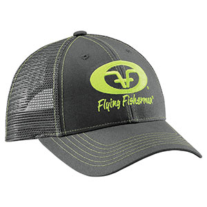 Flying Fisherman H1776 Neon Green Logo Trucker Hat Graphite