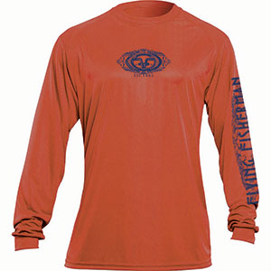 Flying Fisherman TL1401OL Logo Long Sleeved Performance Tee Burnt Orange L