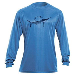 Flying Fisherman TL1403BL Sailfish Long Sleeved Performance Tee Carolina Blue L