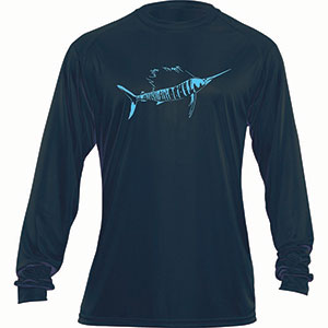 Flying Fisherman TL1403NL Sailfish Long Sleeved Performance Tee Navy L