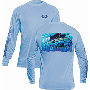 Flying Fisherman TL1410BL Pasta Sailfish Long Sleeve Performance Tee Blue Mist L