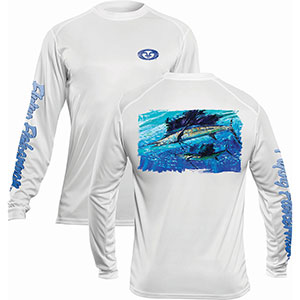 Flying Fisherman TL1410WL Pasta Sailfish Long Sleeve Performance Tee White L