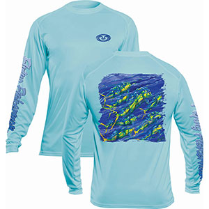 Flying Fisherman TL1411AL Pasta Mahi Long Sleeve Performance Tee Aqua L