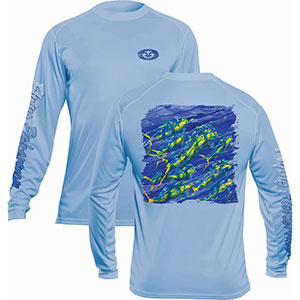 Flying Fisherman TL1411BL Pasta Mahi Long Sleeve Performance Tee Blue Mist L