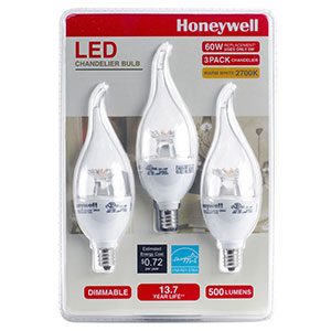 Honeywell 6.5 Watt, 60W Equivalent, B11 Candelabra LED Light Bulb Set (3-pack), B11MX27HB320