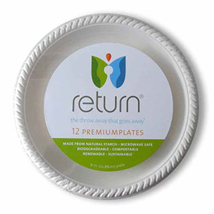 Yumi Return 9 Inch Compostable Plates, 100% Natural Starch, 12 Pieces