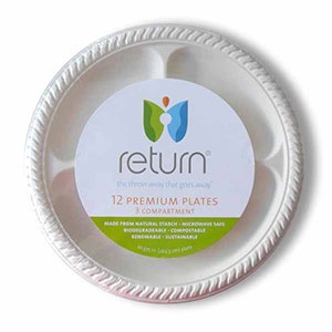 Yumi Return 10-3/8 Inch Compostable Compartment Plates,12 Pieces