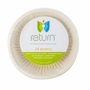 Yumi Return 12 oz. Compostable Bowls, 100% Natural Starch, 24 Pieces