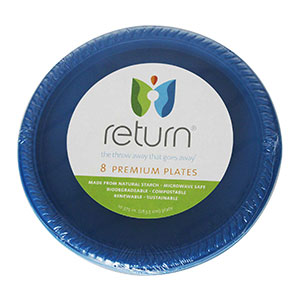 Yumi Return 10-3/8 Inch Blue Compostable Plates, 100% Natural Starch, 8 Pieces