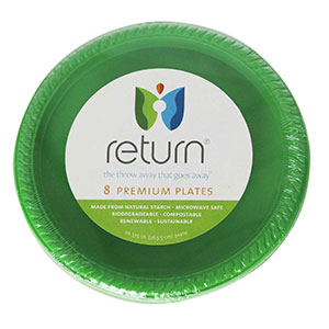 Yumi Return 10-3/8 Inch Green Compostable Plates, 100% Natural Starch, 8 Pieces