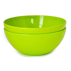 Yumi Nature+ Green Natural Bamboo Salad, Pasta & Soup Bowls, Set of 2