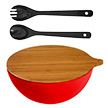 Yumi Nature+ Natural Bamboo Salad Bowl & Servers Bundle (Red/Black)